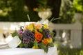 Wedding flowers shoot of on white table Stock Photos