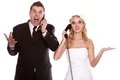 Wedding fury couple phone yelling, relationship difficulties Royalty Free Stock Photo