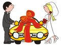 Wedding gift the newlyweds were given a present a car they re going to go on a honeymoon amusing picture Stock Photos