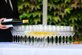 Wedding glass champagne restaurant Royalty Free Stock Photo