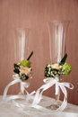 Wedding glasses of champagne decorated for the ceremony shallow depth of field Royalty Free Stock Photos