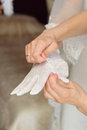 Wedding glove on hand bridesmaid helping bride to put Stock Image