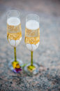 Wedding goblets full of champagne Stock Images