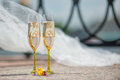 Wedding goblets full of champagne Royalty Free Stock Photography