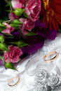 Wedding gold rings on white pillow a Stock Photography