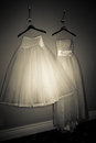 Wedding gowns two beautiful filmy with graceful full skirts hanging on clothes hangers on a wall in a darkened room Royalty Free Stock Photography