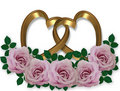 Wedding graphic Gold Hearts rose4s Royalty Free Stock Photo