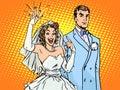 Wedding groom and happy bride