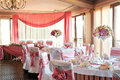 Wedding hall preparation done at a fancy reception Royalty Free Stock Photo
