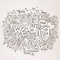 Wedding hand lettering and doodles elements sketch vector illustration Stock Photos