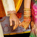 Wedding hands closeup of of indian couple Royalty Free Stock Photography