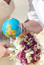 Wedding and honeymoon in tropical country Stock Images