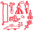 Wedding icons funny doodle Royalty Free Stock Image