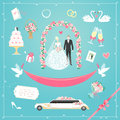 Wedding icons set of cute design elements for card Royalty Free Stock Photos