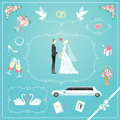 Wedding icons set of cute design elements and frames for card Royalty Free Stock Photography