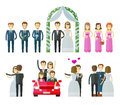 Wedding icons set. marriage, nuptial, wed or