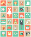 Wedding icons square set of modern flat Stock Photography