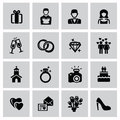 Wedding icons vector black set on gray Stock Photography