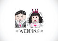 Wedding idea design cartoon hand drawn couple Stock Images