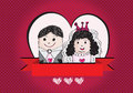 Wedding idea design cartoon hand drawn couple Royalty Free Stock Image