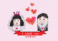Wedding idea design cartoon hand drawn couple Royalty Free Stock Photography