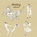 Wedding illustrations of a hand-drawn floral pattern and cute couples in retro style.