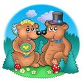 Wedding image with bears on meadow Royalty Free Stock Photos