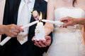 Wedding image, ritual lighting candle Royalty Free Stock Photo