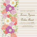 Wedding invitation or announcement card with beautiful hand drawn flowers Royalty Free Stock Photo