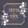 Wedding invitation and announcement card with floral background artwork. Elegant ornate floral backgroun