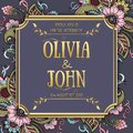 Wedding invitation and announcement card with floral background artwork. Elegant ornate floral background.