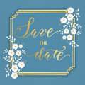 Wedding invitation and announcement card with floral frame. Elegant ornate border with handwritten text. Save the date.