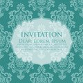 Wedding invitation and announcement card with vintage background artwork. Elegant ornate damask background. Royalty Free Stock Photo