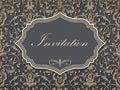 Wedding invitation and announcement card with vintage background artwork. Elegant ornate damask background.
