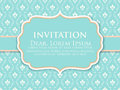 Wedding invitation and announcement card with vintage background artwork. Elegant ornate damask background.