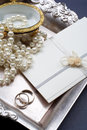 Wedding invitation baroque style still life Royalty Free Stock Photo