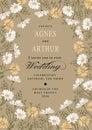 Wedding invitation. Beautiful flowers Chamomile. Frame, label. Vintage greeting card. Drawing engraving. Vector Illustration