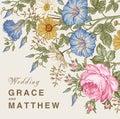 Wedding invitation. Beautiful flowers Petunia Chamomile Rose card. Frame, label. Vector victorian Illustration.