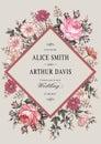 Wedding thanks invitation. Beautiful realistic flowers Chamomile Rose card. Frame, label. Vector victorian Illustration. Petunia