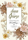 Wedding thanks invitation. Beautiful realistic flowers Chamomile Rose card. Frame, label. Vector victorian Illustration.