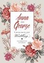 Wedding invitation. Beautiful realistic flowers Chamomile Rose card. Frame, label. Vector victorian Illustration.