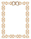 Wedding invitation border gold hearts Stock Photo