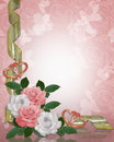 Wedding invitation border pink roses Stock Image