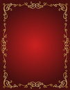 Wedding invitation border in red and gold Royalty Free Stock Photo
