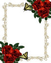 Wedding invitation Border Red Roses Butterflies Royalty Free Stock Photo