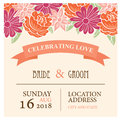 Wedding invitation card with beautiful floral background Royalty Free Stock Photo