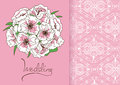 Wedding invitation or card with bridal bouquet and lace pattern Royalty Free Stock Photography