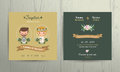 Wedding invitation card cartoon bride and groom portrait Royalty Free Stock Photo