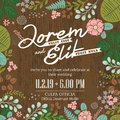 Wedding invitation card with cute and colorful foliage backgroun vector background Royalty Free Stock Images