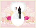 Wedding invitation card with a cute couple Royalty Free Stock Photo